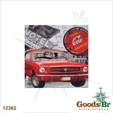 tela impressa mustang vermelho coca cola  50x50x3cm