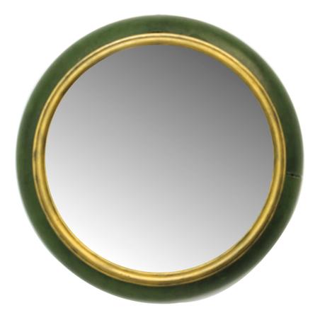 espelho redondo pu verde e borda dourada 40x40x8cm