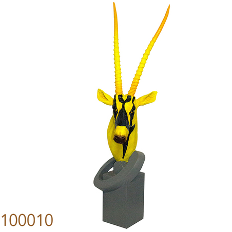 escultura cabeca antilope yellow/black  102x40x27cm