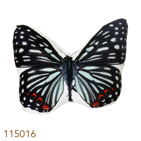 -almofada borboleta preto e branco   26x31x10cm