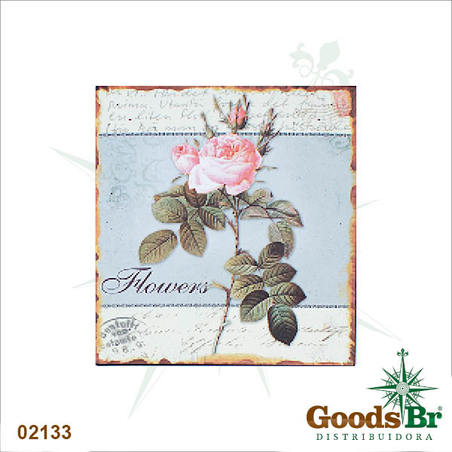 -placa de metal flowers oldwa25x25cm