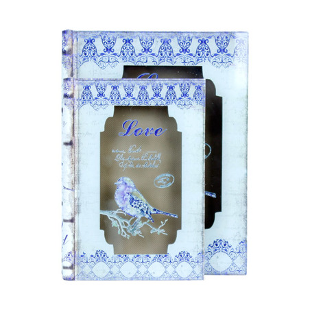 book box cj 2 pc com vidro love bird  25x19x6cm