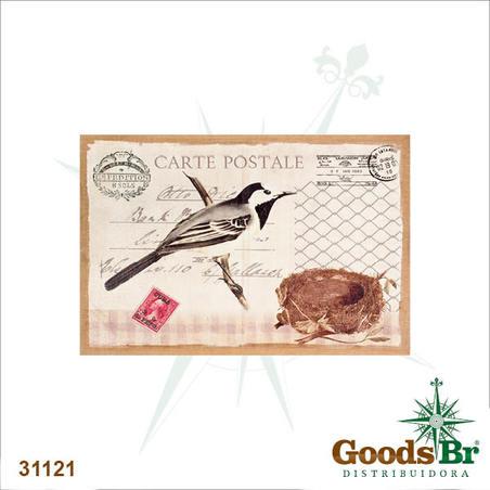 -tela linho carte postale passaro  60x90x3cm