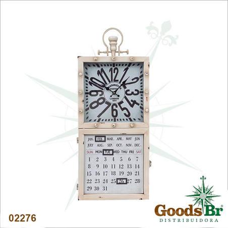 relogio metal calend/porta chave bco  73x30x7cm