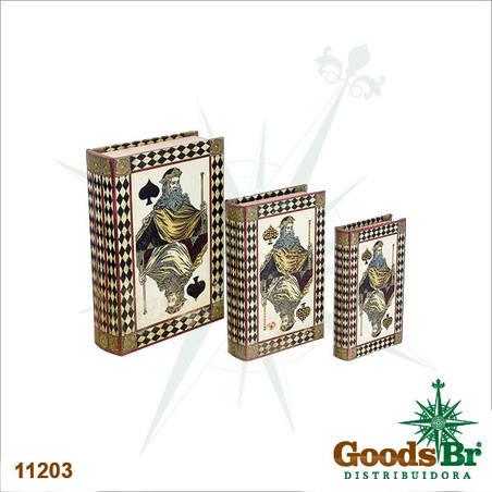 book box cj 3pc seda com strs cartas  30x21x7cm