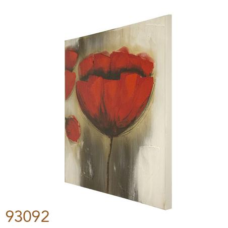 -quadro pintura flores vermelhas 3  60x60x3cm