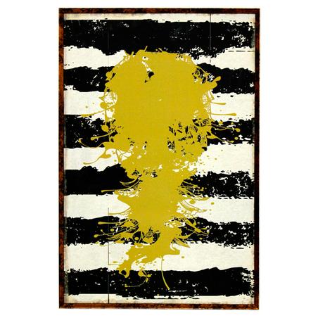 quadro com mold listras pto/bco pintura amarela 60x40x4cm