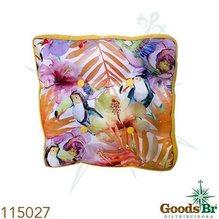 -almofada flores c/ tucano efolhas  40x40x12cm