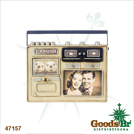 porta retrato mini radio cinza 20x24x3,5cm