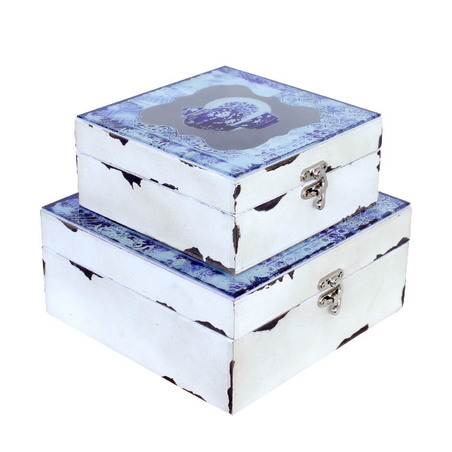 caixa cj 2 pc ceramicas azuis com vidro  20x20x9cm