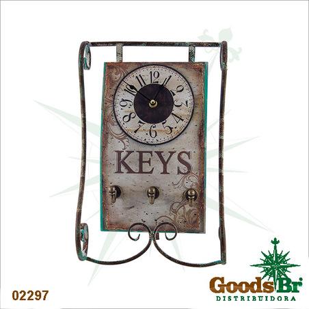 -relogio mesa com porta chaves 38x25x7,5cm