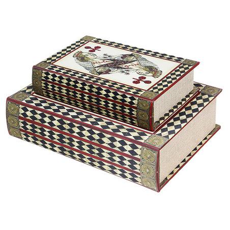 book box cj 2pc rainha baralho  27x18x7cm