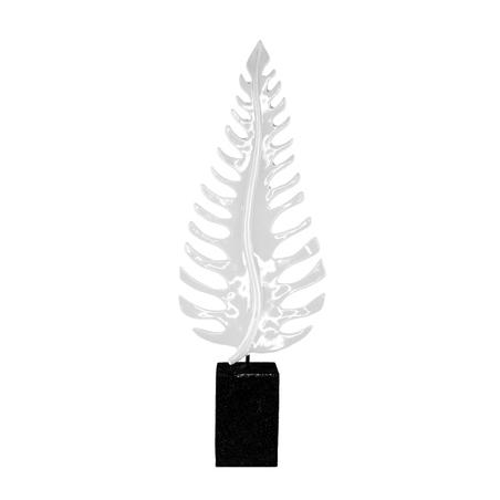 escultura folha samambaia grande resina branca 67x23x10cm