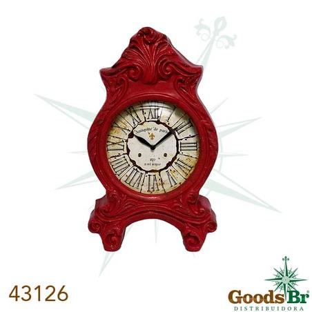 -relogio mesa classico resina red  51x32x9cm