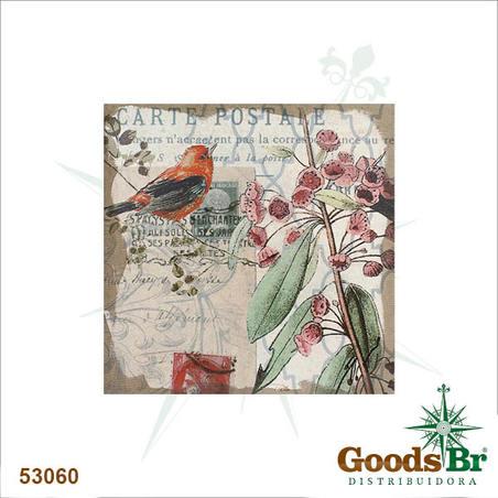 tela passaro vermelho cartepostale  80x80x4cm