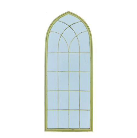 -espelho teto curvo moldura amarelo  187x74x3cm