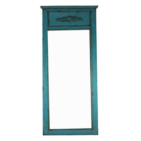 espelho madeira alto trab moldura azul  210x95x3,5cm