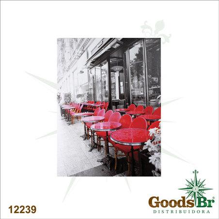 tela impressa cafe mesas vermelhas  80x60x3cm