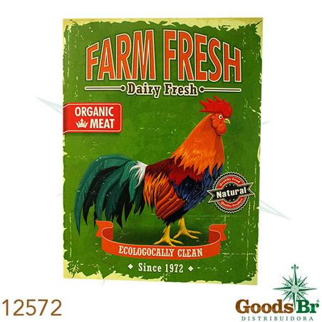 -tela impressa galo farm fresh 80x60x3cm