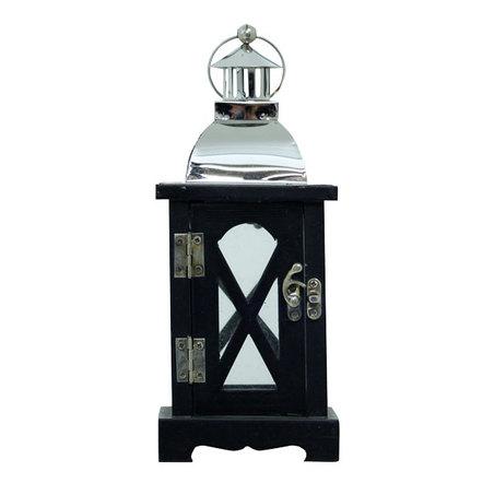 lanterna x preta em pinus inoxprata  25x10x10cm