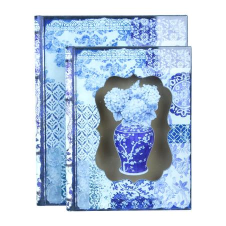 book box cj 2 pc com vidro hortensia  30x24x8cm