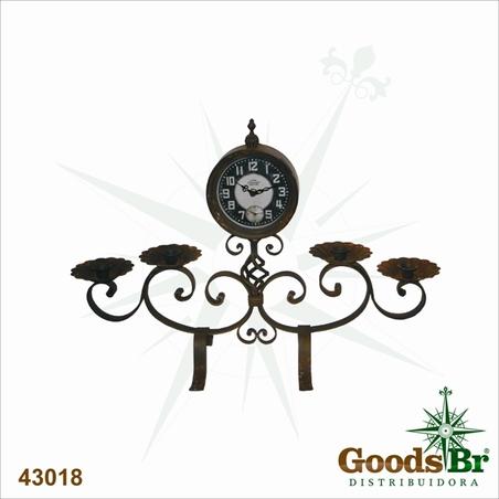 -relogio com castical ferro brown  45x67x20cm