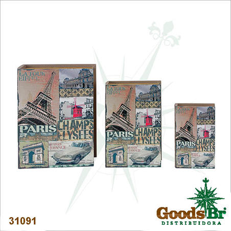 book box cj 3pc champs elysees  35x26x8cm