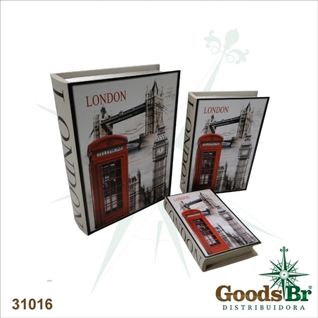 livro (book box) cj 3pc cabine london  35x26x8cm