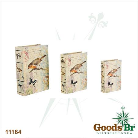 -book box cj 3pc passaro e borboleta  36x25x10cm