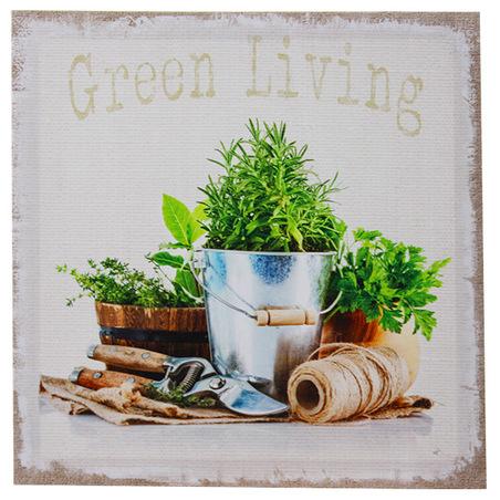 -tela impressa gardening arbusto  28x28x3cm
