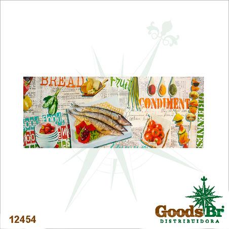 -tela impressa alimentos peixe  60x150x4cm