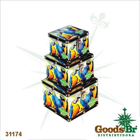 baus quadrdo cj3pc araras amazonia  18x18x14cm