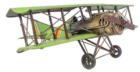 aviao verde metal  22x60x56cm