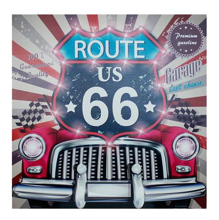-tela impressa led route 66 pink  80x80x4cm