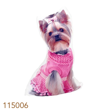 -almofada yorkshire roupa rosa 33x20x10cm