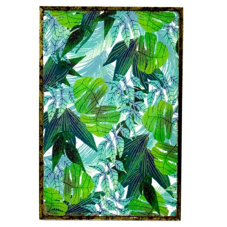 quadro com moldura pintura folhas 60x40x4cm