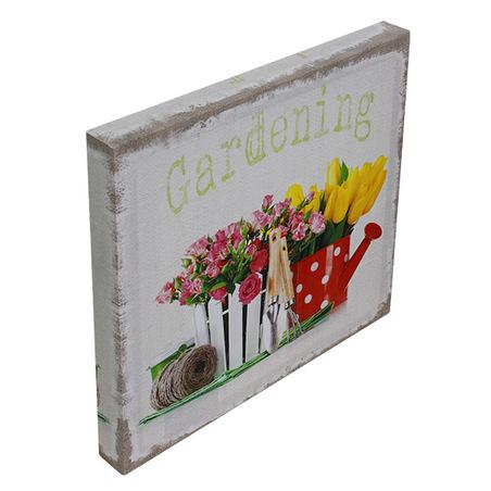 -tela impressa gardening flowers  28x28x3cm