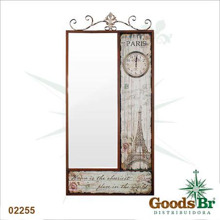 -espelho c relogio facet eiffel paris  189x90x6cm