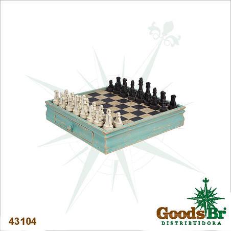 tabuleiro de xadrez madeiraazul  50x48x19cm