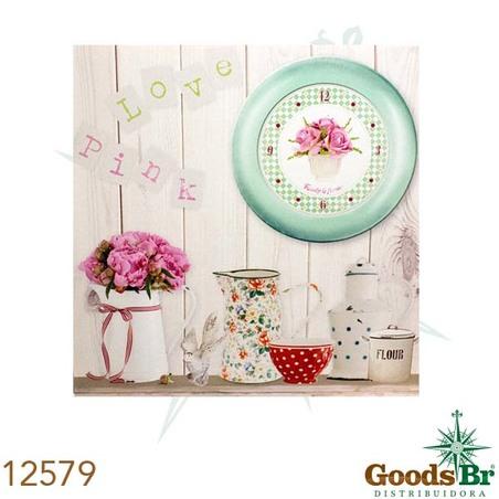 tela impressa bule flor relogio  40x40x2,5cm