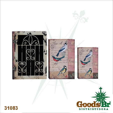 book box cj 3pc c grade iron passaros  35x26x9cm
