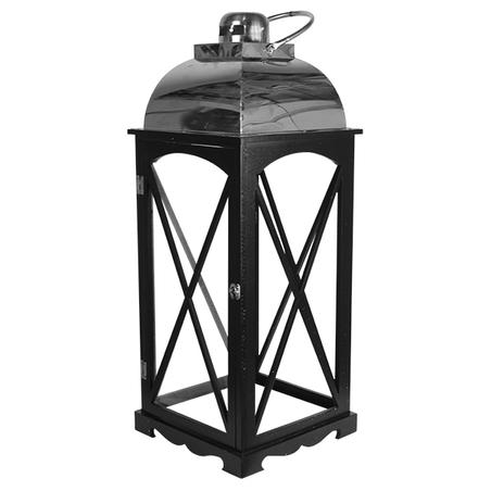 lanterna preta cj 3pc inox prata  81x31x31cm