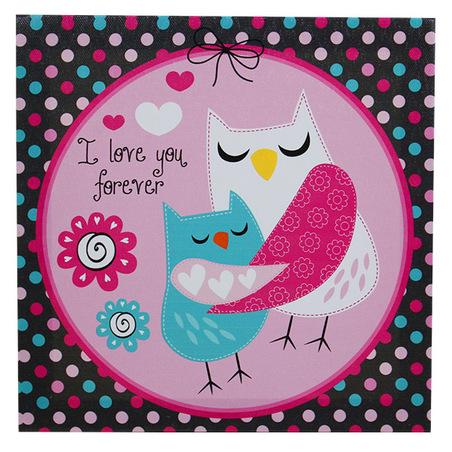 -tela impressa mom owl  20x20x4cm