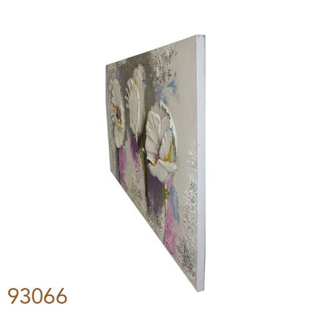 quadro pintura flores brancas 90x180x4cm