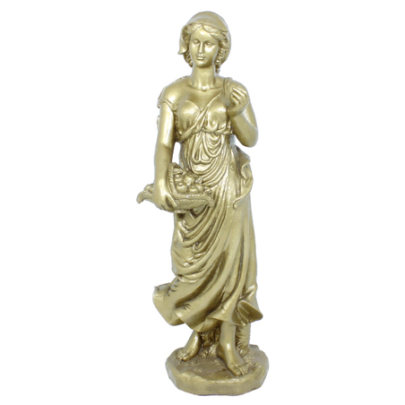 estatua mulher cesto dourada  120x33x41cm