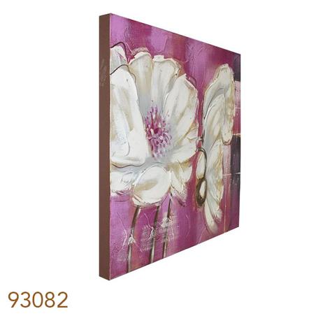 quadro pintura flores brancas fundo rosa  60x60x3cm