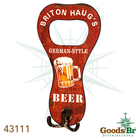 gancheira metal abridor beer  16x13x4cm