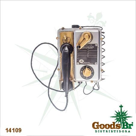 telefone vintage em metal  26x32x16,5cm