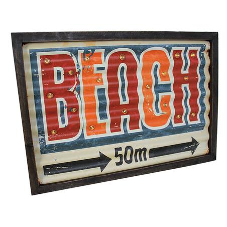 quadro em metal com led  beach  30x42x4cm