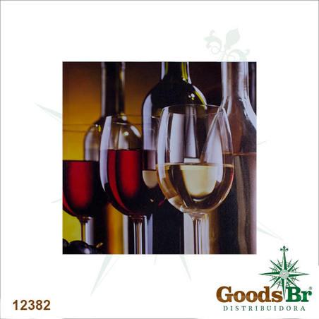 tela impressa tacas de vinho  40x40x3cm